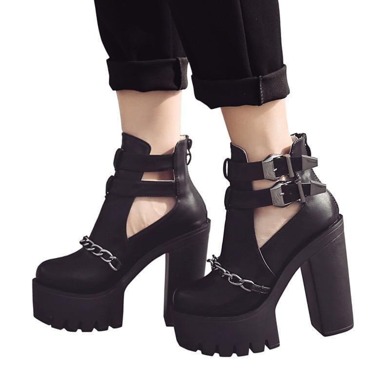 Punk Style Cut-outs Buckle Round Toe Chain Thick Heels Platform Booties - Booties