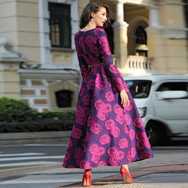Purple And Fuchsia Long Sleeve Boho Floral Jacquard Dress Fashion Formal Maxi Dress - Gown