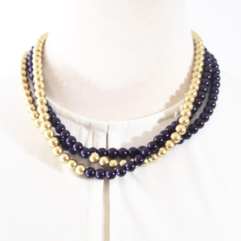 Purple and Gold Color Block Glass Pearls Necklace. - Handmade