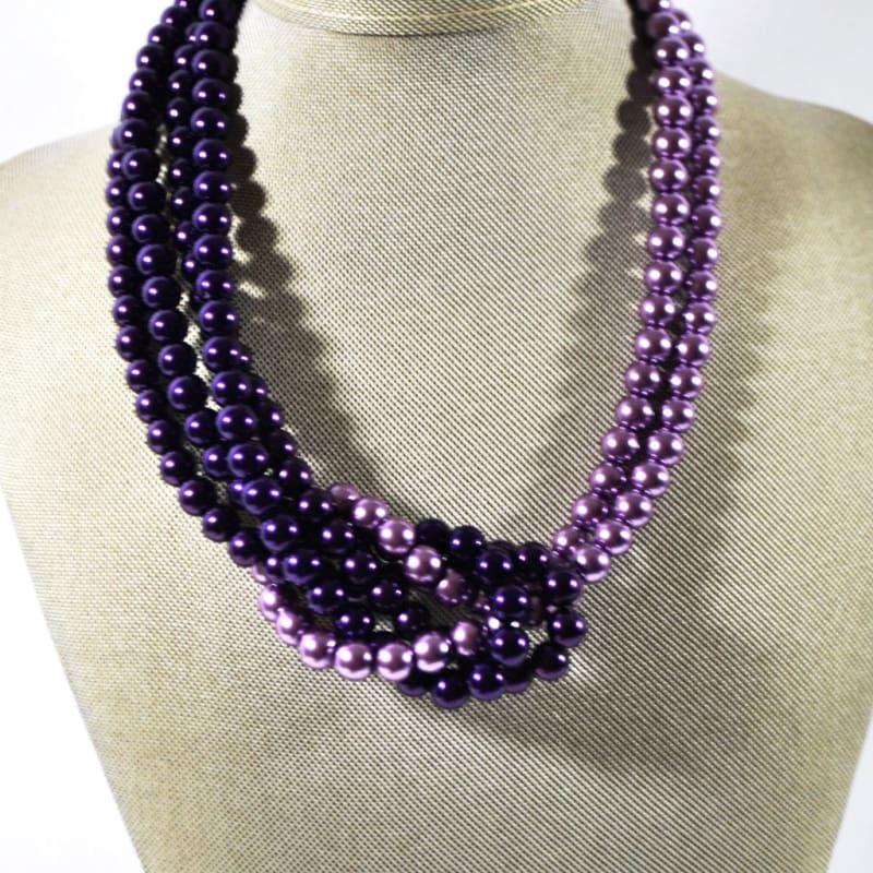 Purple And Lavender Glass Pearls Inter Loop Beaded Necklace. - Handmade