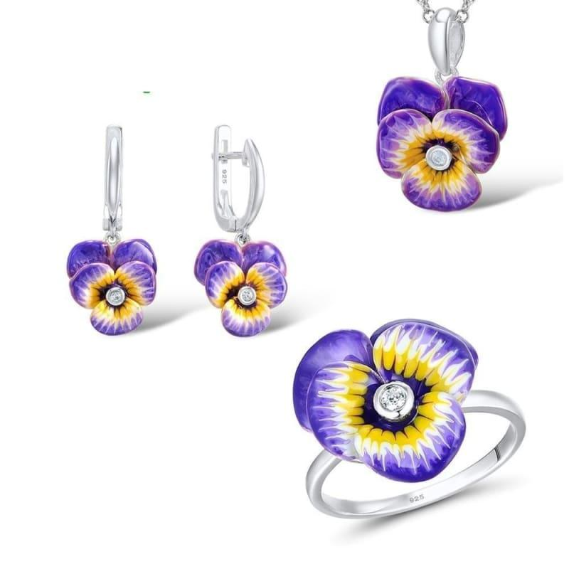 Purple and Yellow Flower CZ Stone Ring Earrings Pendent Necklace 925 Sterling Silver Women Jewelry Set - 7.25 - jewelry set