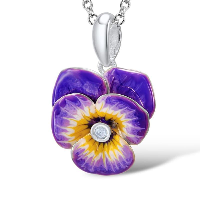 Purple and Yellow Flower CZ Stone Ring Earrings Pendent Necklace 925 Sterling Silver Women Jewelry Set - jewelry set