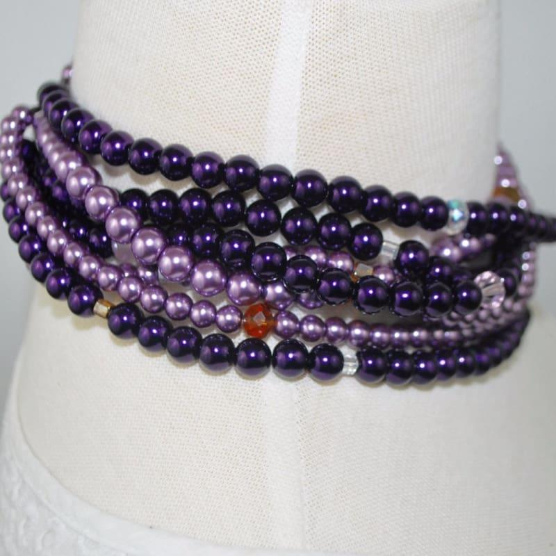 Purple / Lavender Multi Strand Glass Pearls Necklace - Handmade