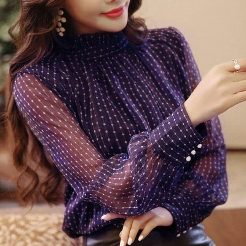 Purple See Through Embroidery Stripped Button Lantern Sleeve Top - As Picture / L - Long Sleeve