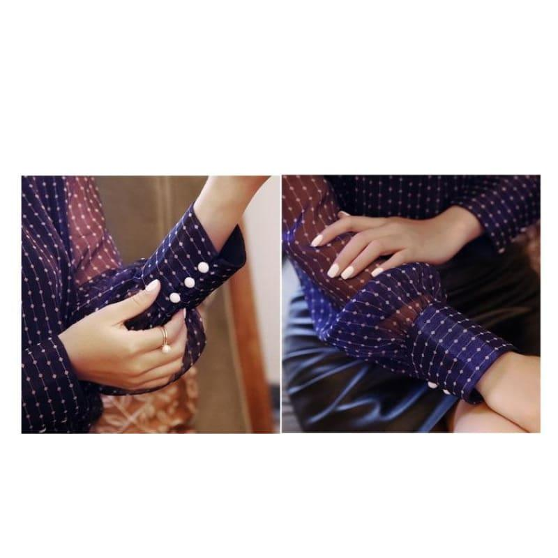 Purple See Through Embroidery Stripped Button Lantern Sleeve Top - Long Sleeve