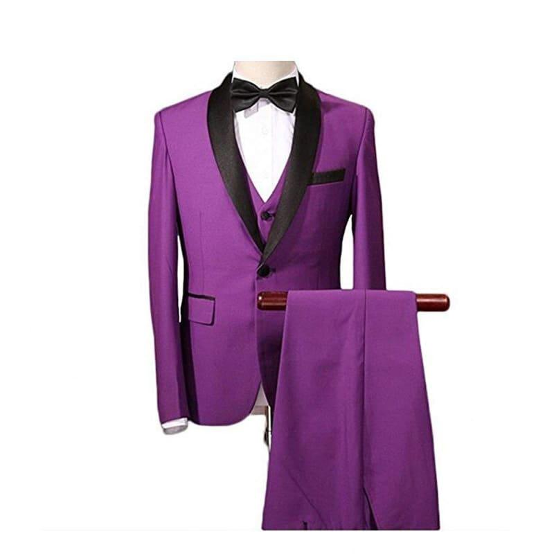 Purple Three Piece Men Shawl Collar Tuxedo Suits - mens suits