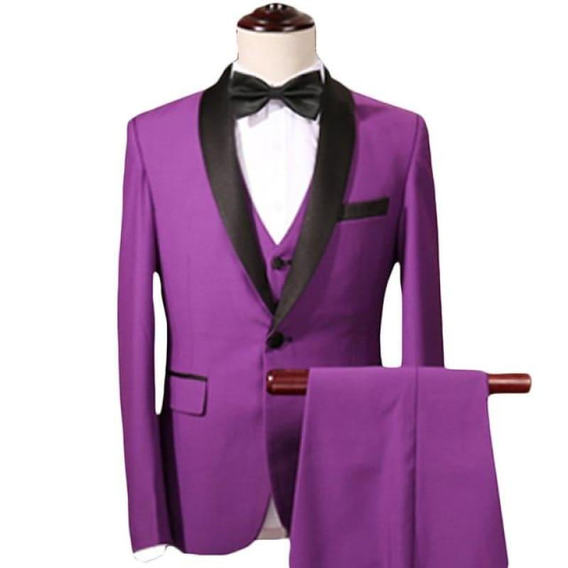 Purple Three Piece Men Shawl Collar Tuxedo Suits - Purple Suits / XXXL - mens suits