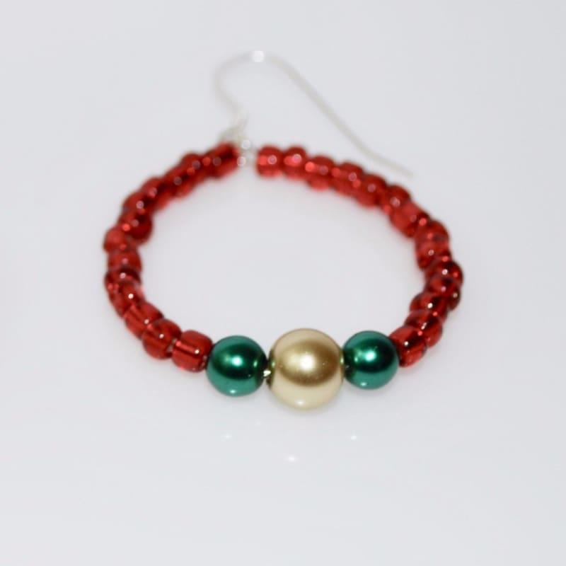 Red Beaded Hoop Earrings - Earrings
