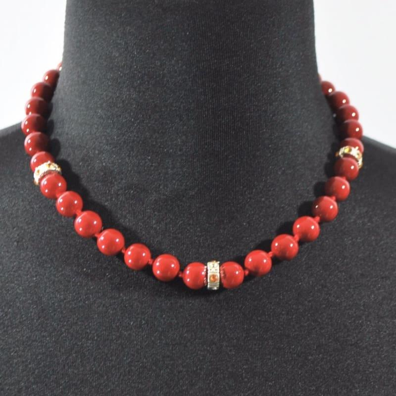 Red Beaded With Charms Ascent Womens Necklace. - Handmade