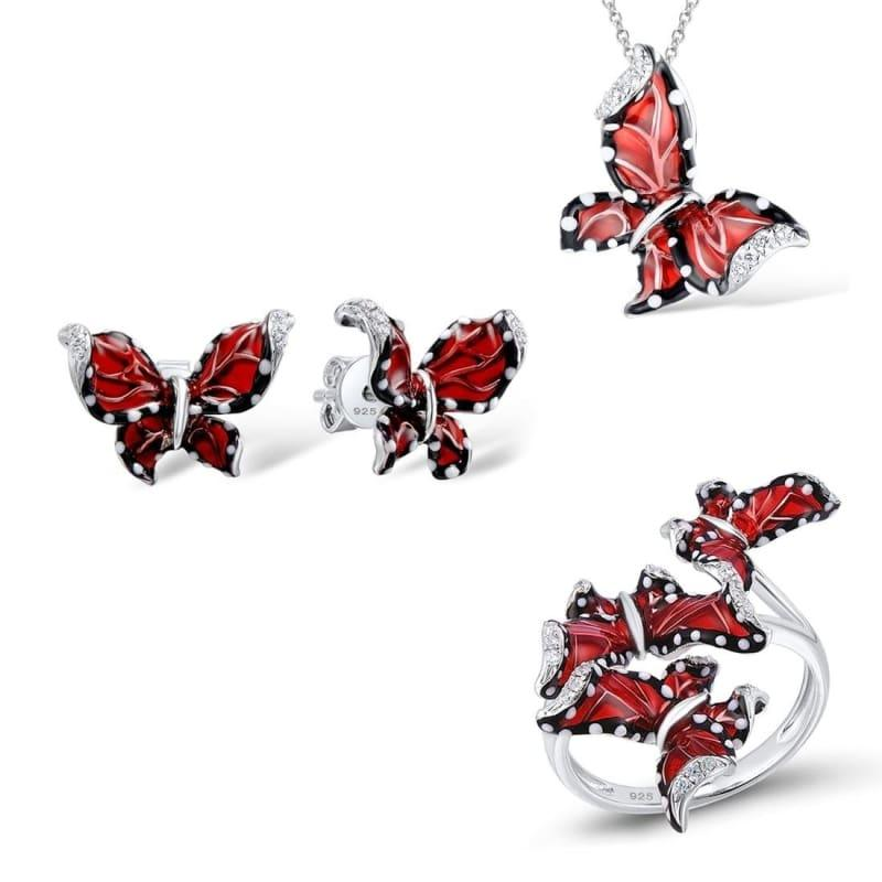 Red Butterfly White CZ Ring Earrings Pendant 925 Sterling Silver Fashion Jewelry Set - 6 - Jewelry Set