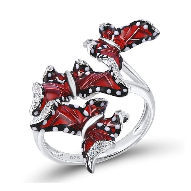 Red Butterfly White CZ Ring Earrings Pendant 925 Sterling Silver Fashion Jewelry Set - Jewelry Set