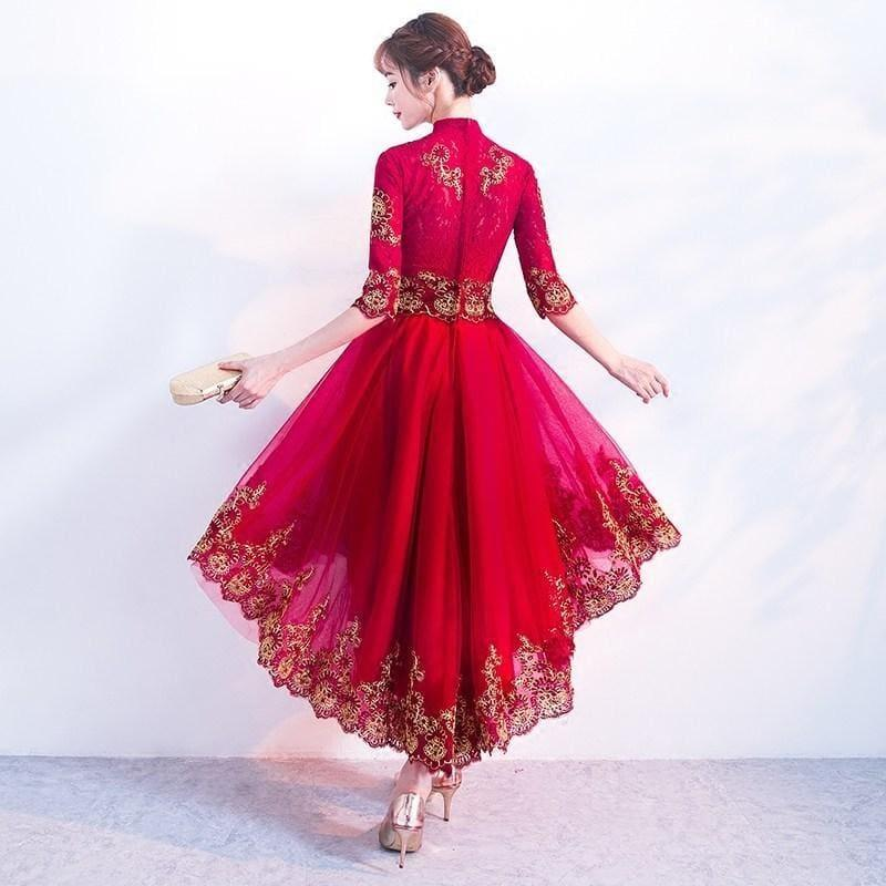 Red Cheongsam Dress Sexy Lace Qipao Women Traditional Chinese Oriental Style Evening Midi Dress - Gown
