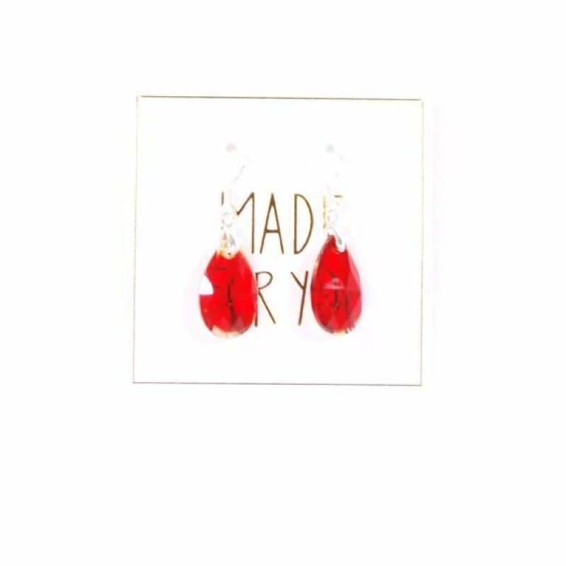 Red Crystal Dangle Womens Earrings - Earrings