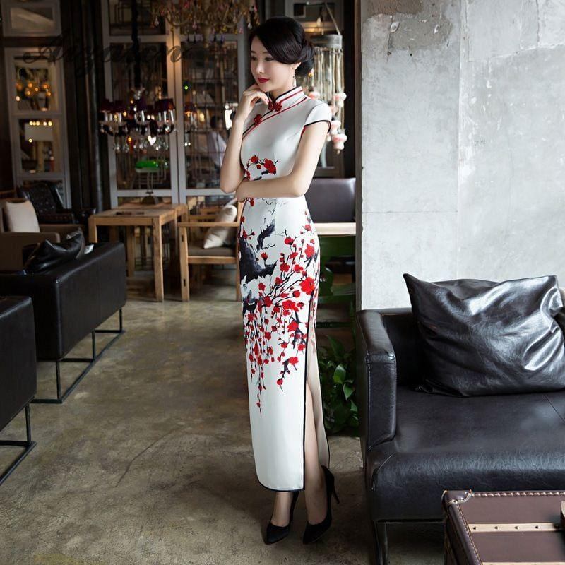 Red Flower Cheongsam White Long Qipao Traditional Dress Oriental Style Maxi Dress - Maxi Dress