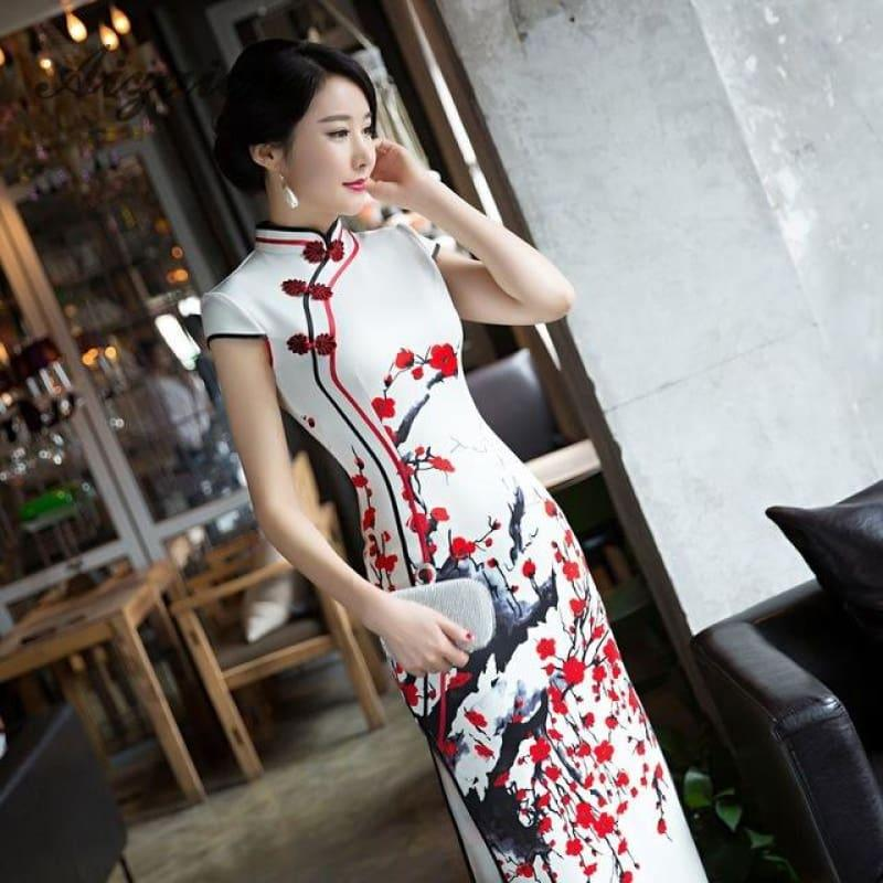 Red Flower Cheongsam White Long Qipao Traditional Dress Oriental Style Maxi Dress - Red / S - Maxi Dress