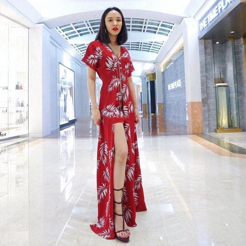 Red Flower Print V Neck Short Sleeve High Waist Side Split Sexy Summer Maxi Dress - Maxi Dress