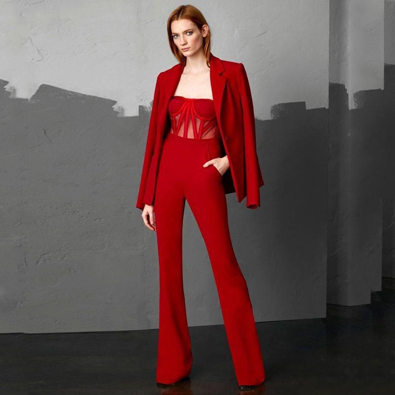 Red Formal Strap Backless Wide Leg Full Length Jumpsuit With Single Button Blazers - Jumpsuit