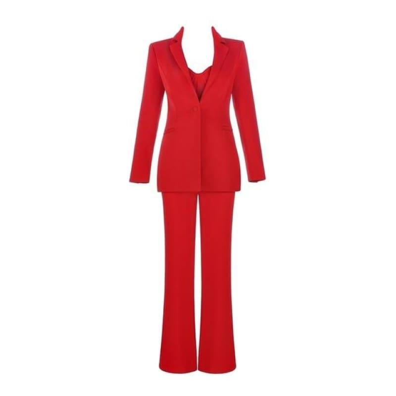 Red Formal Strap Backless Wide Leg Full Length Jumpsuit With Single Button Blazers - Red / XS - Jumpsuit