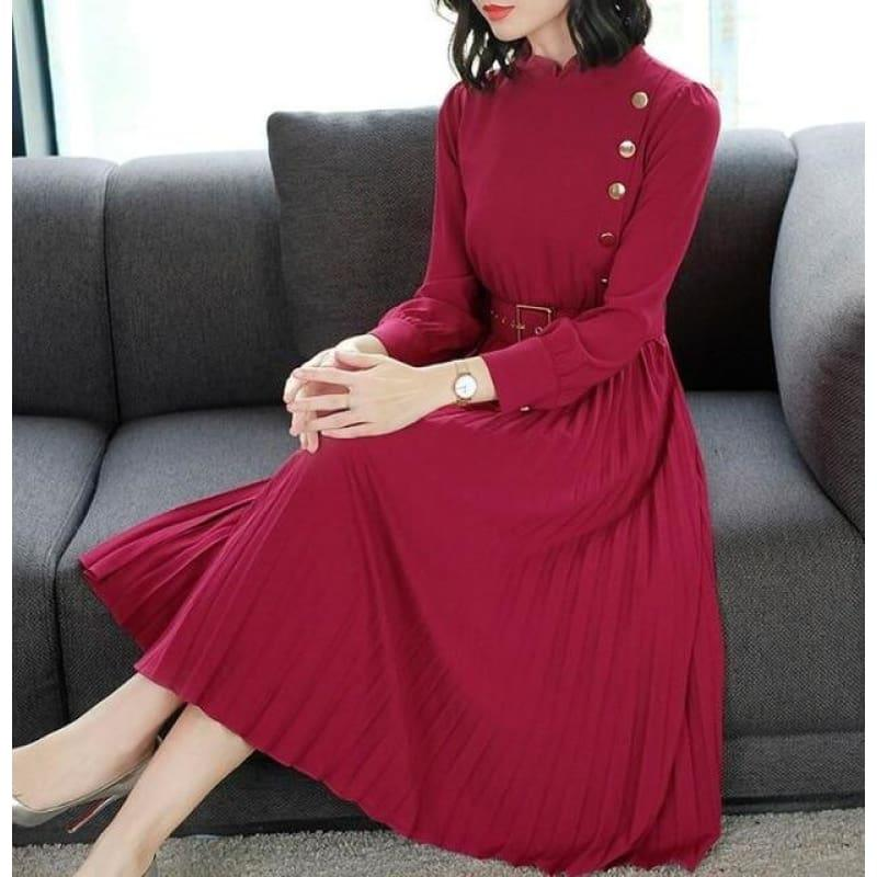 Red Hot Spring New Arrival Stand Collar Waist A Patterned Pleated Buttoned Collar Belt Midi Dress - Red / M - Midi Dress
