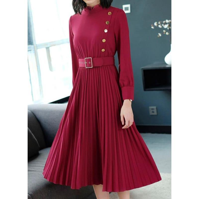 Red Hot Spring New Arrival Stand Collar Waist A Patterned Pleated Buttoned Collar Belt Midi Dress - Midi Dress