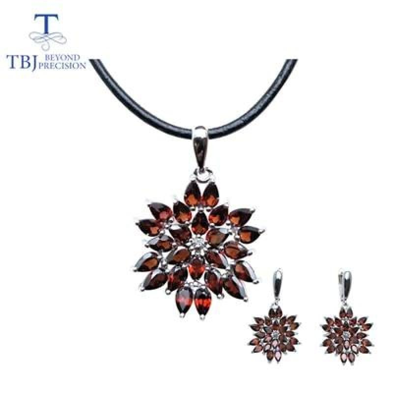 Red Mozambique Garnet Pendant Earrings Gemstone Jewelry Set - jewelry set / 45cm - Jewelry set