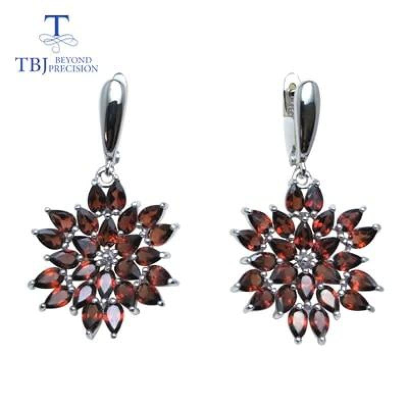 Red Mozambique Garnet Pendant Earrings Gemstone Jewelry Set - earring / 45cm - Jewelry set