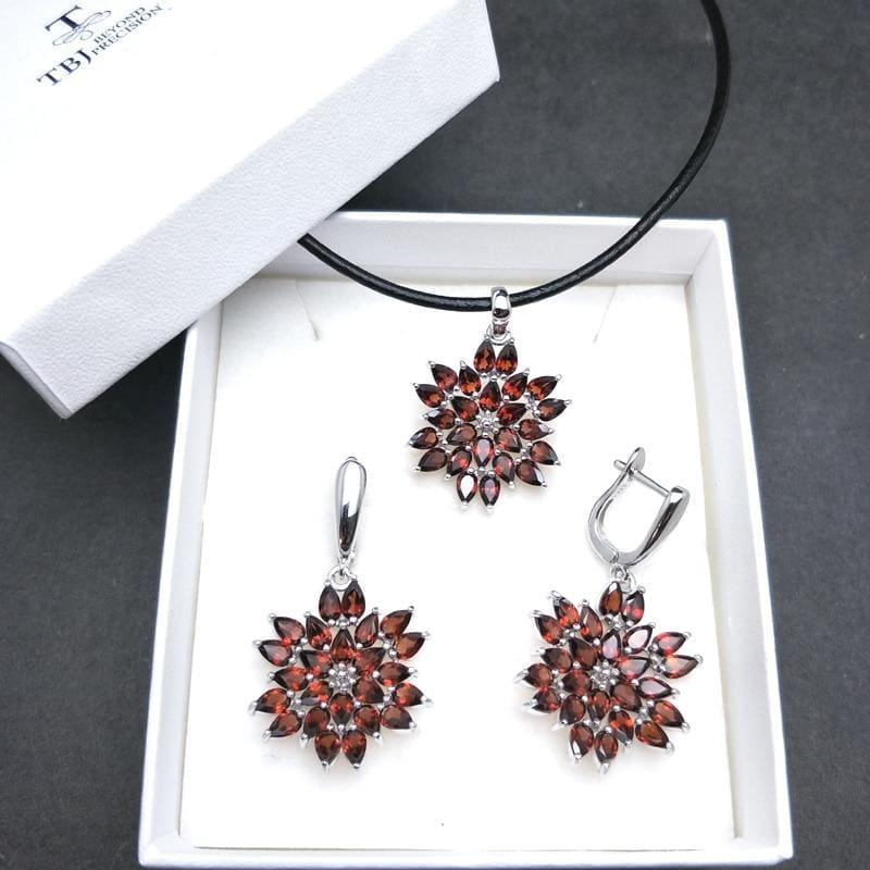 Red Mozambique Garnet Pendant Earrings Gemstone Jewelry Set - Jewelry set