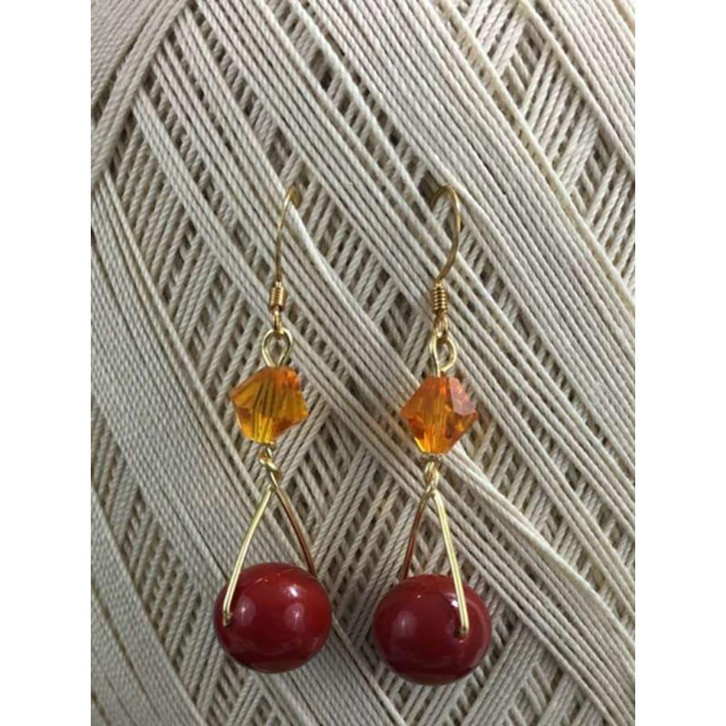 Red Shell Gold Filled Wired Dangle Earrings - Handmade