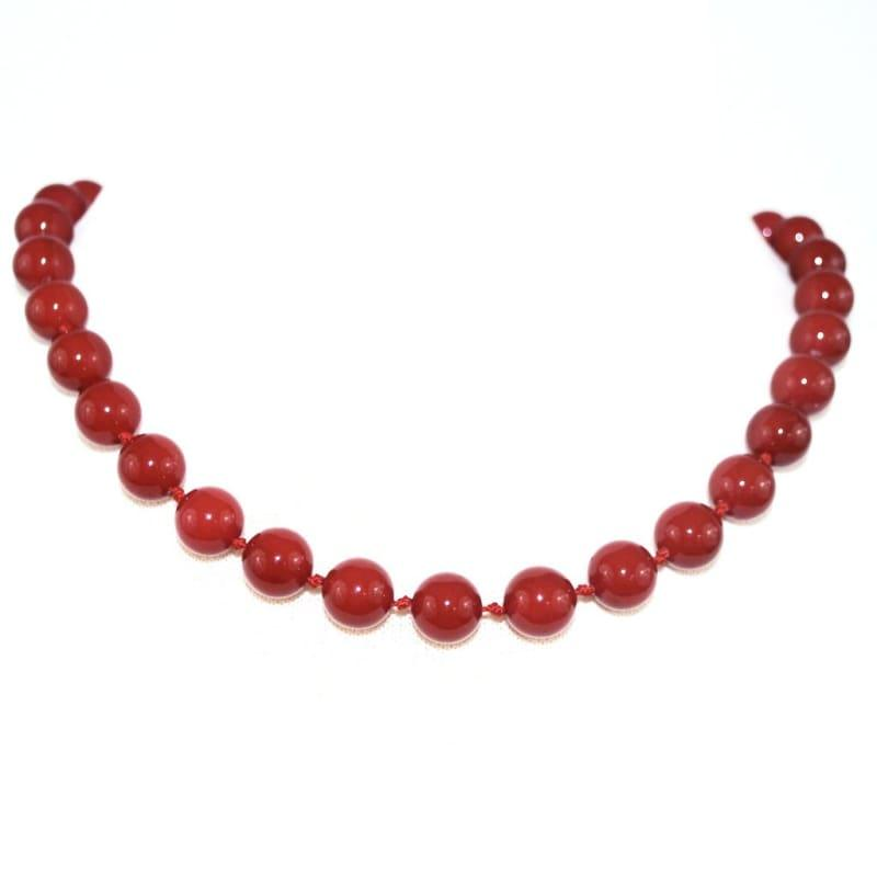 Red Shell Pearls Womens Beaded Necklace. - Handmade