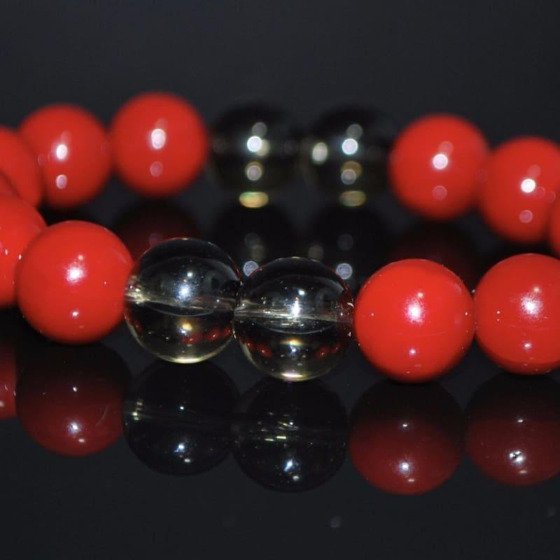 Red Shell With Black Quartz Beaded Bracelets - Handmade