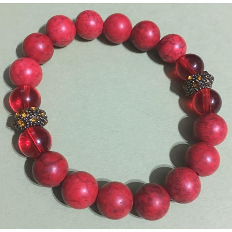 Red Turquoise bead with yellow and gold rhinestone beaded womens bracelets - Handmade