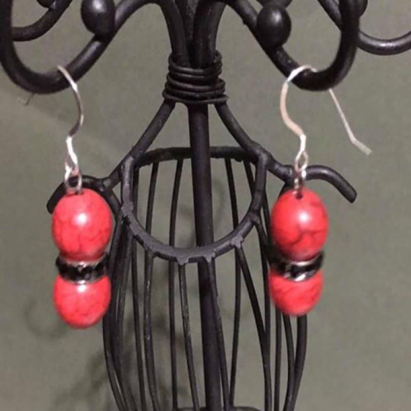 Red Turquoise Black Rhinestone Earrings - Handmade