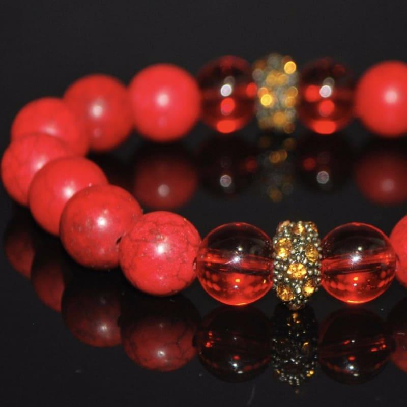 Red Turquoise With Copper Rhinestone Bracelets - Handmade