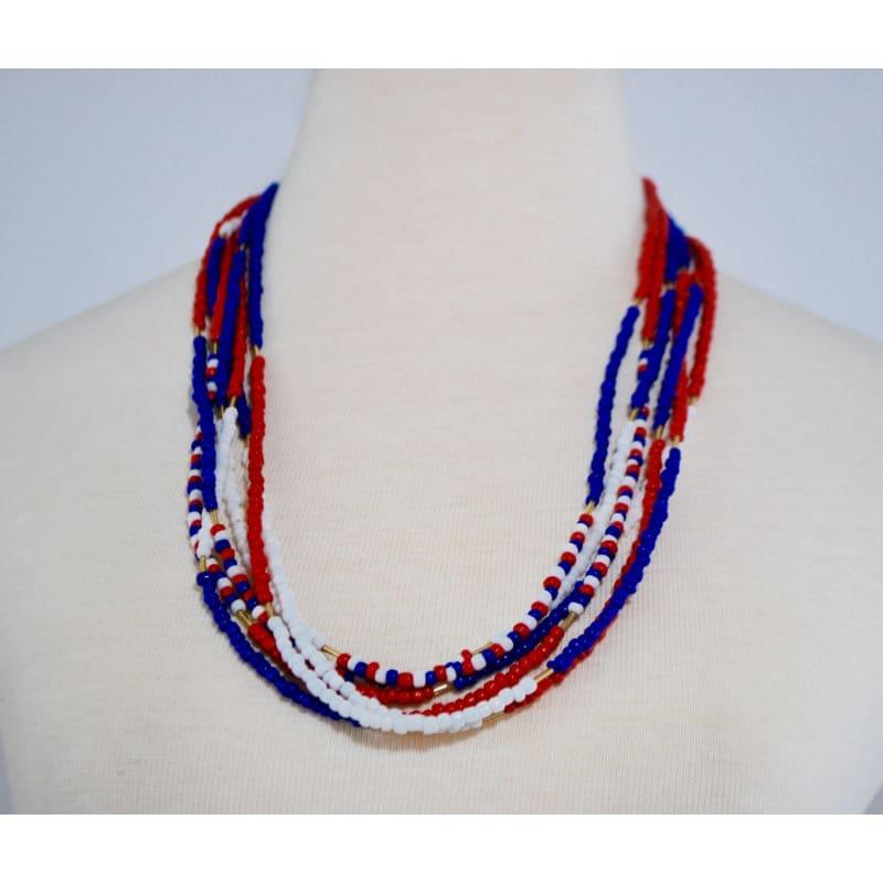 Red White Blue Womens Multi Strands Necklace - Handmade