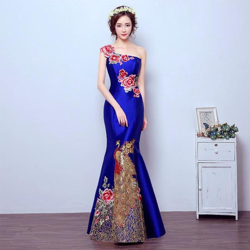 Retro Mermaid Tail Fashion Embroidery Qipao Long Cheongsam Chinese Traditional Dress - Blue / S - Gown