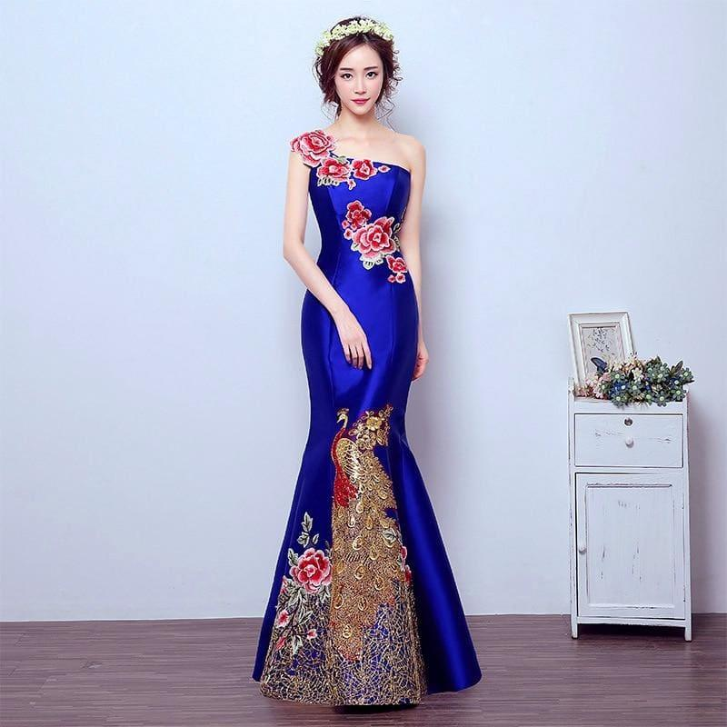 Retro Mermaid Tail Fashion Embroidery Qipao Long Cheongsam Chinese Traditional Dress - Gown