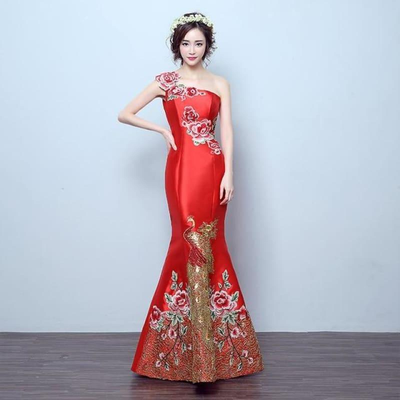 Retro Mermaid Tail Fashion Embroidery Qipao Long Cheongsam Chinese Traditional Dress - Red / S - Gown