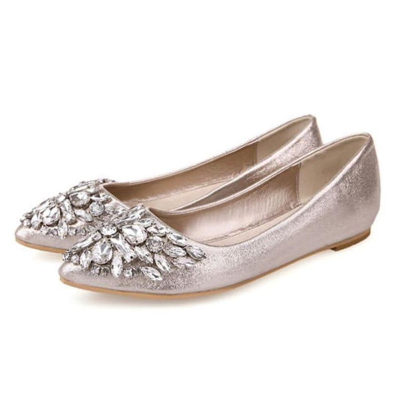 Rhinestone Princess Crystal Fashion Ballet Flats - Gold / 5.5 - Flats