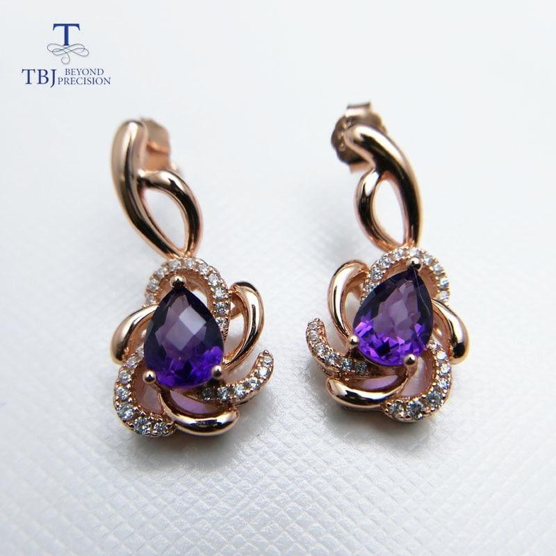 Romantic Design Natural Amethyst Gemstone Ring and Earring Jewelry Set - Jewelry Set