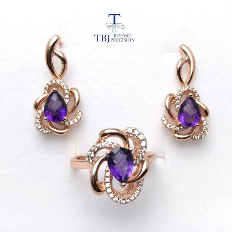 Romantic Design Natural Amethyst Gemstone Ring and Earring Jewelry Set - amethyst / Resizable - Jewelry Set