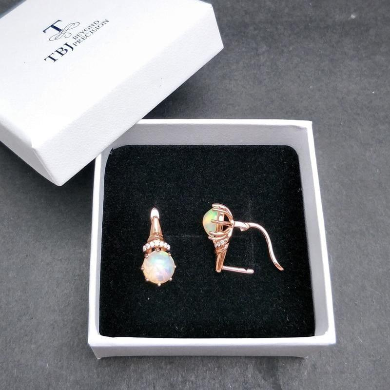 Romantic Ethiopian Opal Gemstone Elegant Clasp Lovely Earrings - earrings