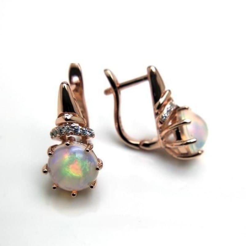 Romantic Ethiopian Opal Gemstone Elegant Clasp Lovely Earrings - opal - earrings