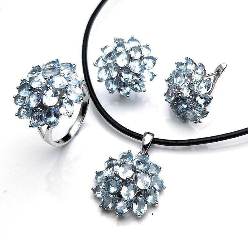 Romantic Natural Blue Topaz Gemstone Ring Pendant Earring Jewelry Set - jewelry set