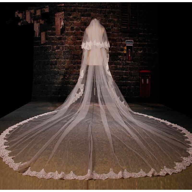 Round Bridal Veil Cathedral 3 Meter Long Wedding Veil - White - Hats