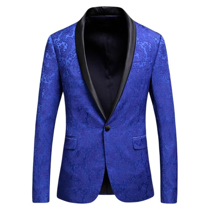 Royal Blue Jacquard Blazer For Men Floral Pattern Tuxedo Jackets - Mens jackets