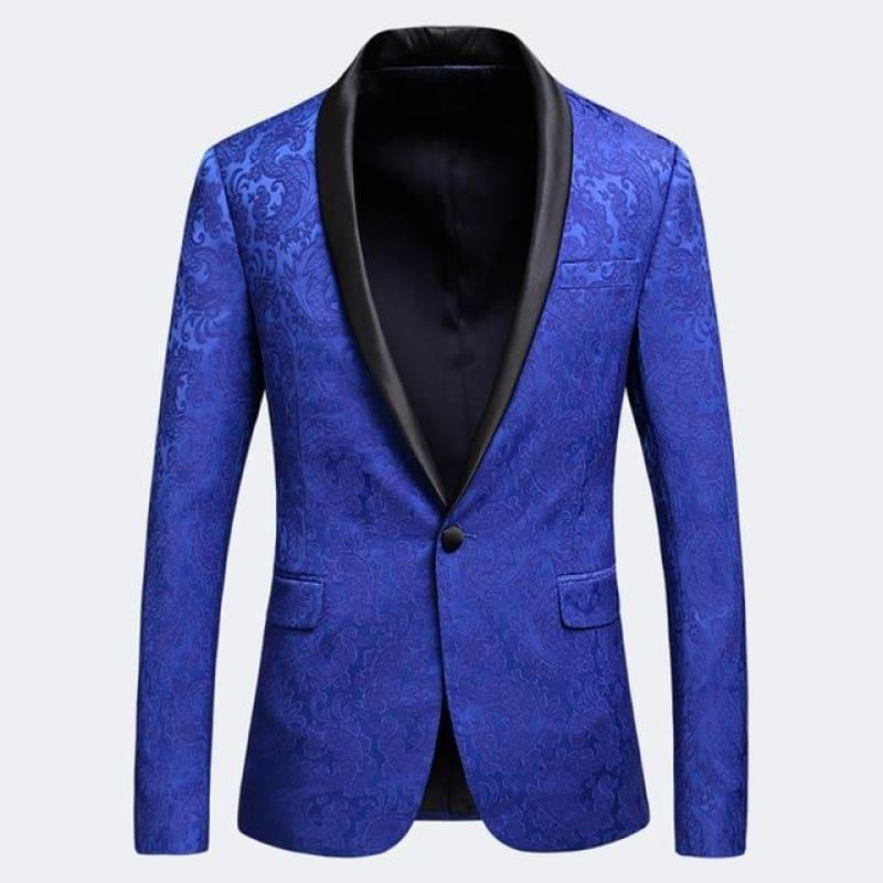 Royal Blue Jacquard Blazer For Men Floral Pattern Tuxedo Jackets - Royal Blue / XXXL - Mens jackets
