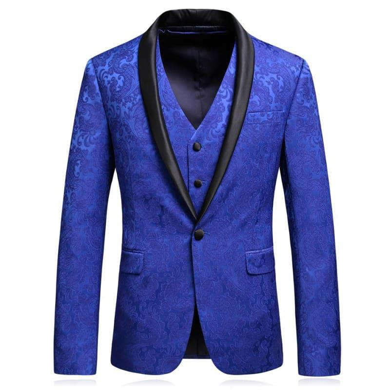 Royal Blue Jacquard Mens Formal Tuxedo Suits - Mens suits