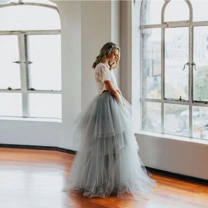 Royal Court Retro Style Full Length Puffy Tulle Tiered Long Maxi Skirt - skirts