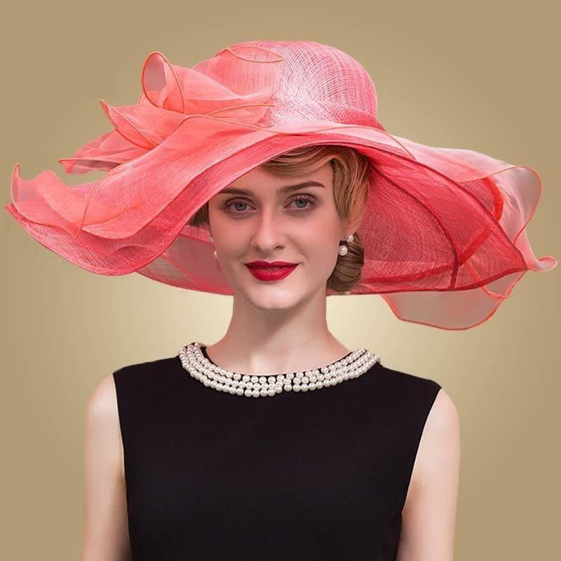 Royal Watermelon Church Wedding Party Kentucky Derby Fascinator With Bowknot Big Brim Hat - hats
