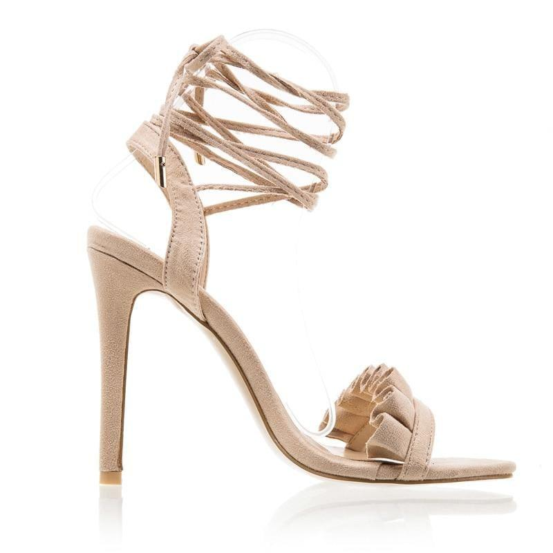 Ruffle Cross Ankle Strap High Heels Sandals - Khaki / 6.5 - Sandals